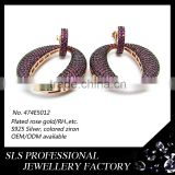 925 sterling silver gold plated fashion jewelery christmas charms ladies fashion hoop stud earrings
