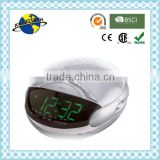 Fancy Silver Green LED Digital AM FM Alarm Clock Radio