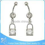 Clear CZ Curved Bar Dangle Lock Body Piercing Navel Belly Rings