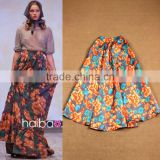2015 Wholesale Quality Most Popular Pastoral Style Newest Designer Runway Printed Long Women Skirt