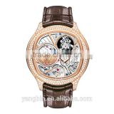 Hot skeleton dial stainless steel japan movt factory unisex watch