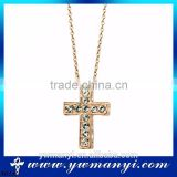 China Factory Direct Sale hot fashion diamond cross shape latest fashion necklace wholesale jewelry N0182