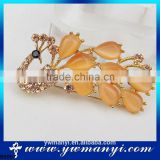 China supplier new product alibaba website Jewelry brooch pin hair clip peacock brooch B0007