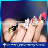 Mix shape color cube square design 3D nail ring jewelry nail tool decoration glitter rhinestone nail art jewelry L0017