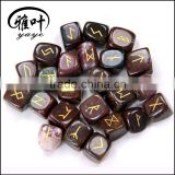 Wholesale Natural Semi-precious Stone Gift Word Engraved Reiki Tumble Indian Agate Stone Rune Stones