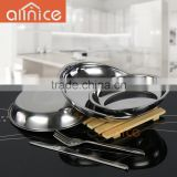 wholesale flat bottom elegant seafood tray/meal plate set/stainless steel salad plate set