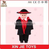 eyes moving plastic doll cheap plastic doll with black coat wholesale stock plastic doll
