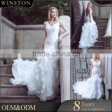 Hot China supplier spaghetti lace and chiffon beach wedding dresses
