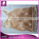 "20"" 4clips 120g/set Clips-on Quality Remy Human Hair Extension/Fashionable clip in human hair extension with lace"