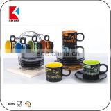 black outside color inside in metal holder 90cc espresso cups 12pcs ceramic cup and saucer