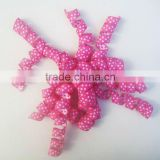 HOT SALE Pink Personlized Printed Dots Grosgrain Curly Bow, Fabric Ribbon Present Wrapping Bow, Woven Ribbon Present Bow
