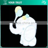 Cute Elephant Holding Balloon White Satin Iron-on Custom Badge Embroidery Patches
