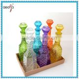beautiful big cheap patterned colored glass wine decanter