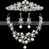 Hot Sale Fashion Wedding Jewelry Crystal Crown Earrings Necklace Bridal 3pcs Jewelry Set