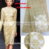 Fashion net lace fabrics party dress fabric 3d flower lace embroidered fabric gold lace fabric