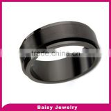 cheap price black plated stainless steel engraved brush satin finish spinner rings jewelry