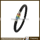 Unique design gay pride jewelry black leather rainbow gay bracelet