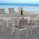 Cherish 2015 WPC Dining Extendable Table and Chairs Outdoor Poly Wood Foshan Furniture                                                                         Quality Choice