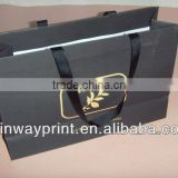 (Hot sale) cheap paper shopping bag with satin ribbon handle with customized logo printing Made in China