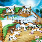 good quality 100% cotton carton bed sheet Children Kids bedding set/horse