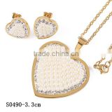 Latest model gold plated Stainless Steel micro-setting Cz diamond heart shaped jewelry set for wedding