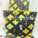 Haniye Latest 2016 ankara wax print fabric holland wax with bag tulle lace wax matching bag for party/DFAWB-2