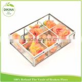 gift for her Wedding & home Kitchen Organizer Custom Decorative Tea Storage floral Jewelry glass metal wooden box with dividers