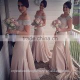 Wholesale Good Quality New Cheap Lace And Beaded formal Long Sheath Mermaid Bridesmaid Dress With Long Ribbon LB21