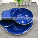 Wholesale 3pcs blue speckled classic enamelware dinner set mugs/bowl/plate for a durable finish
