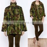 Long Sleeve Buttoned Up Zipped Collar Water Proof Camouflage Raincoat Jacket For Women