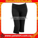 Custom popular breathable cheap black plain polyester/spandex tight sportswear fitness ladies capri trousers