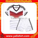 Hot sale top quality color combination short sleeve dry fit polyester football jersey soccer uniform for kids