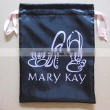 promotion printing satin shoe bag /cheap satin bag with logo and ribbon drawstring in black color