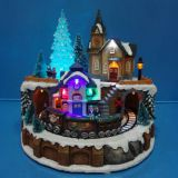 Polyresin Christmas Decoration 9'' Led train station with rotating train and eight songs music