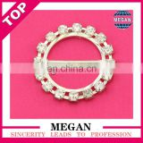 Fashion fancy rhinestone custom round bar buckles for invitation ribbon slider