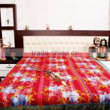 Handmade Organic Vintage Throw Kantha Quilt Ethnic Reversible Bedspread bohemian King Size Quilt