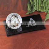 Black crystal desk top golf gifts golf desk clock gift