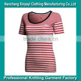 Striped Open Round Neck T Shirts Clothes Women Athletic Sports Wear Lady Slim Fit T-Shirt China Export Clothes