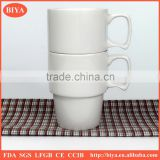 porcelain coffee cup cheap white porcelain round stacked coffee cup no decal printing mark mug with handle