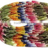 100% Natural Multi Sapphire Faceted Tyre Shape Beads 4MM Approx 17''Inch Good Quality On Wholesale Price.