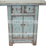 Chinese Antique Gray Blue Colour Small Cabinet With Two Drawer Two Door Cabinet 88*31*88cm
