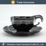 Cheap fashion black porcelain modern cup and saucer
