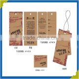 2016 Custom hang tag, price tag, tags for clothing polyester, brown kraft hang tags for clothing