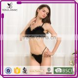 China Wholesale Latest Design Christmas Velvet Black Sexy Fancy Panty Bra Set