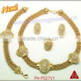 New desgin cheap rhinestone copper alloy wholesale costume jewelry with bracelet and earring