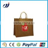 chinese manufacturer handmade jute bag with window/jute bags with leather handles/small jute bag