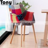 classic furniture patchwork wood base armrest leisure chair