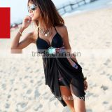 2016 Wholesale Women Summer Sexy Black Lace push up beachwear dresses women set Floral Triangle Push up Halter beachwear