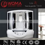 2014 high quality corner shower massage portable 6mm glass steam room