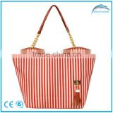 Promotional fashion stripe woman tote bag,canvas tote bag,cotton tote bag                                                                         Quality Choice